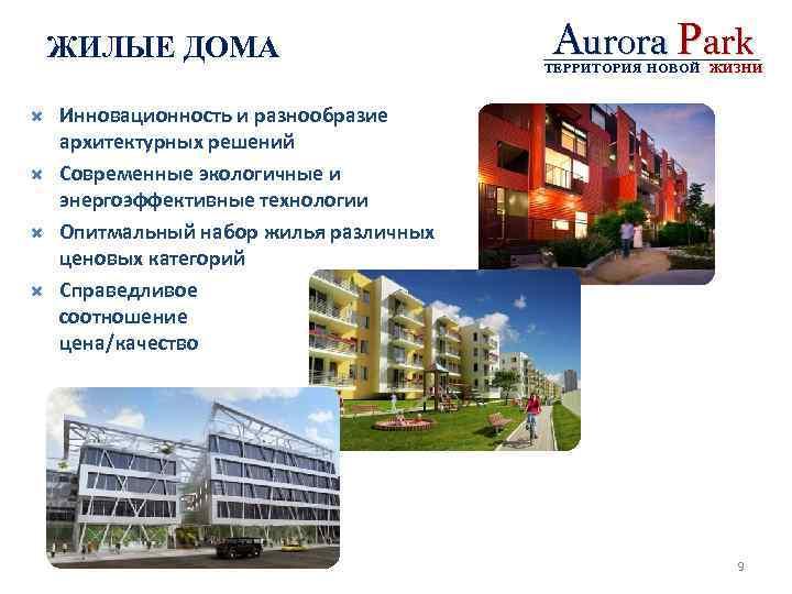 ЖИЛЫЕ ДОМА Aurora Park ТЕРРИТОРИЯ НОВОЙ ЖИЗНИ Инновационность и разнообразие архитектурных решений Современные экологичные