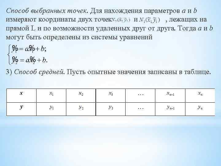 Способ выбранных точек. Для нахождения параметров a и b измеряют координаты двух точек и