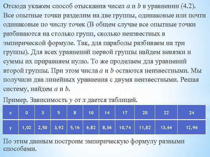 Отсюда укажем способ отыскания чисел a и b в уравнении (4. 2). Все опытные