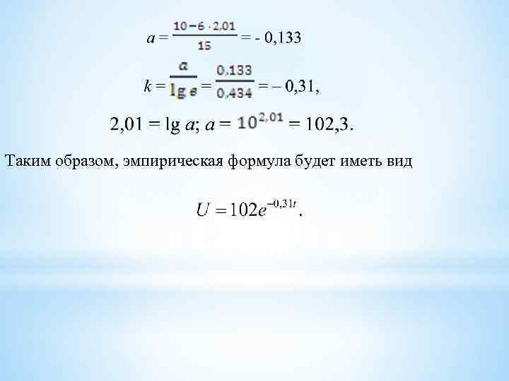 Таким образом, эмпирическая формула будет иметь вид
