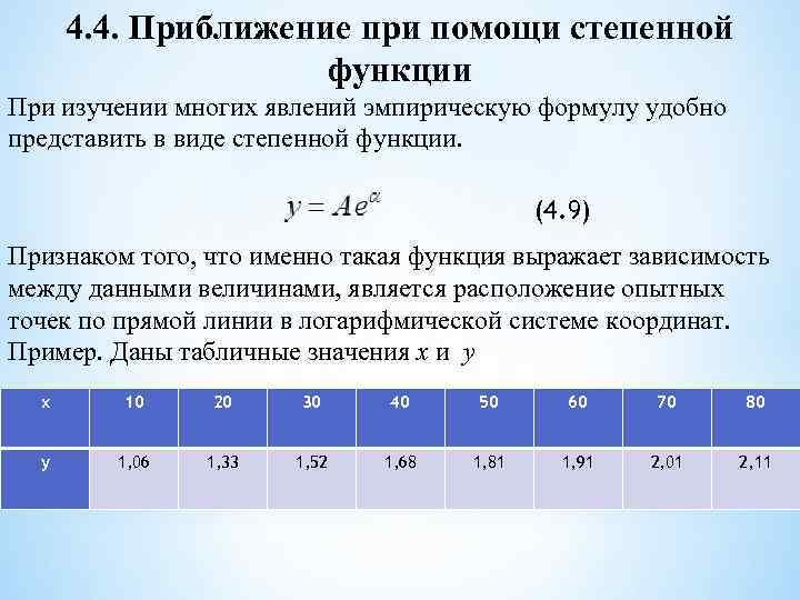 4. 4. Приближение при помощи степенной функции При изучении многих явлений эмпирическую формулу удобно