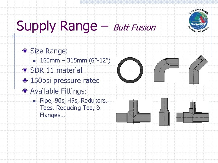 "Supply Range – Size Range: n 160 mm – 315 mm (6""-12"") SDR 11"