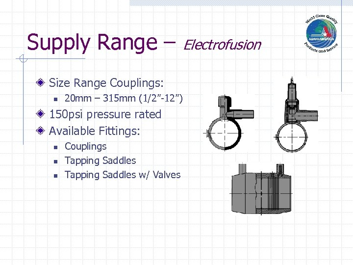 "Supply Range – Electrofusion Size Range Couplings: n 20 mm – 315 mm (1/2""-12"")"