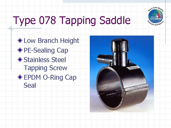 Type 078 Tapping Saddle Low Branch Height PE-Sealing Cap Stainless Steel Tapping Screw EPDM