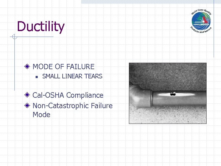 Ductility MODE OF FAILURE n SMALL LINEAR TEARS Cal-OSHA Compliance Non-Catastrophic Failure Mode