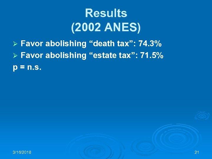 "Results (2002 ANES) Favor abolishing ""death tax"": 74. 3% Ø Favor abolishing ""estate tax"":"