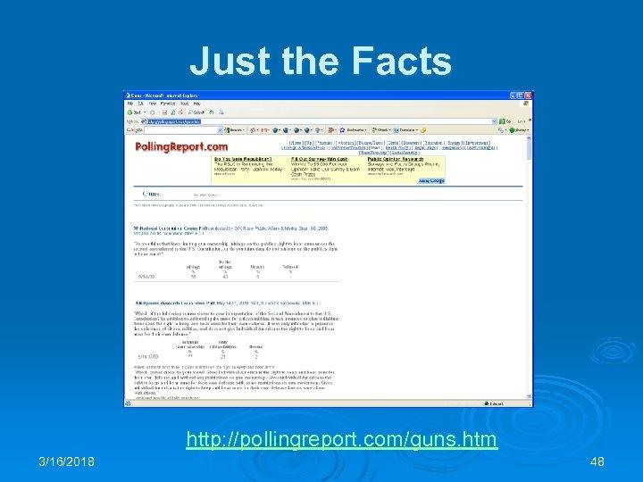 Just the Facts http: //pollingreport. com/guns. htm 3/16/2018 48