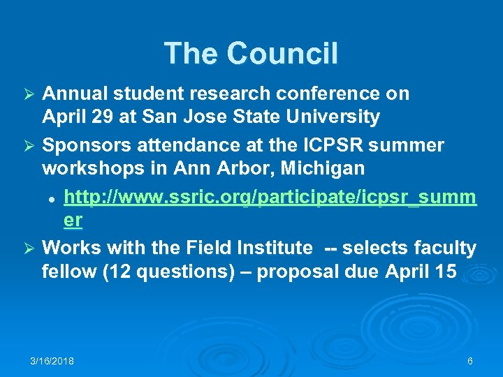 The Council Annual student research conference on April 29 at San Jose State University