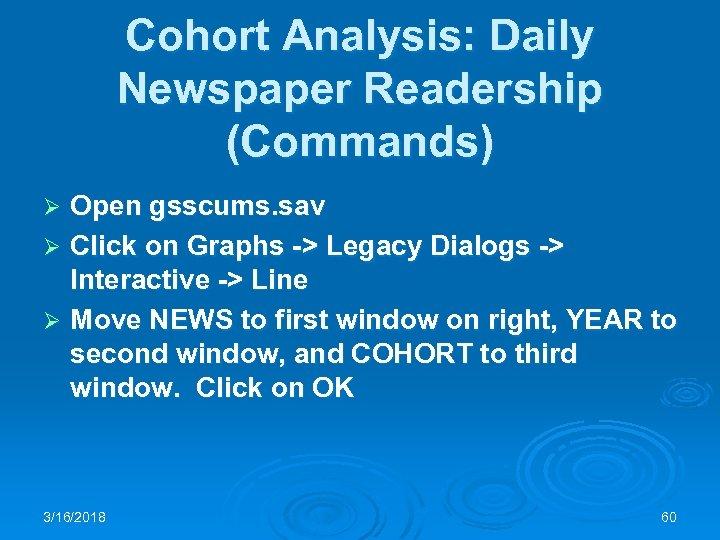 Cohort Analysis: Daily Newspaper Readership (Commands) Open gsscums. sav Ø Click on Graphs ->