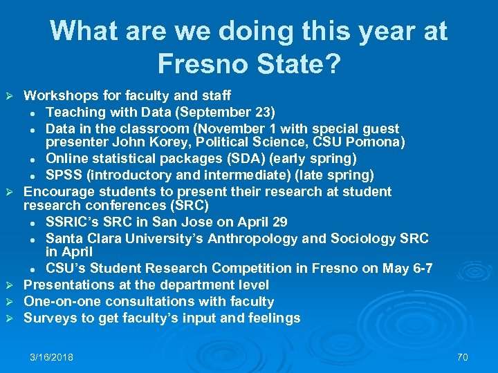 What are we doing this year at Fresno State? Ø Ø Ø Workshops for
