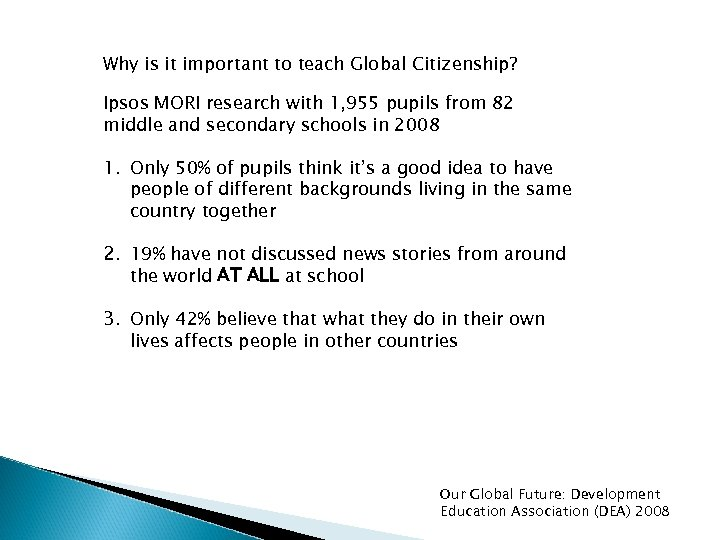 Why is it important to teach Global Citizenship? Ipsos MORI research with 1, 955