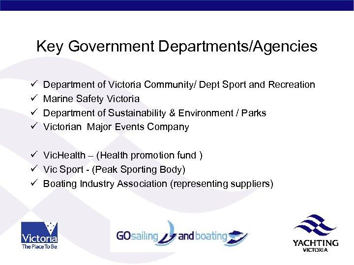 Key Government Departments/Agencies ü ü Department of Victoria Community/ Dept Sport and Recreation Marine