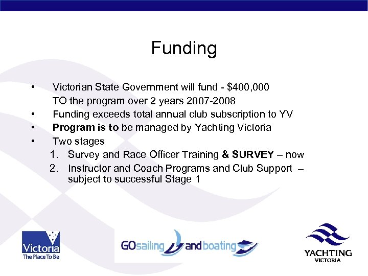 Funding • • Victorian State Government will fund - $400, 000 TO the program
