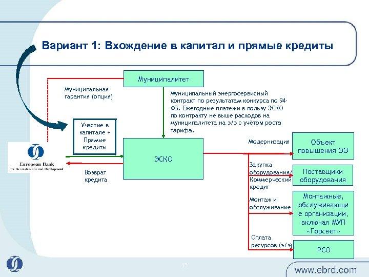 Вариант 1: Вхождение в капитал и прямые кредиты Муниципалитет Муниципальная гарантия (опция) Участие в