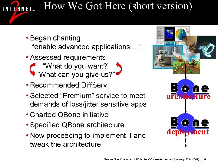 "How We Got Here (short version) • Began chanting: ""enable advanced applications, …"" •"
