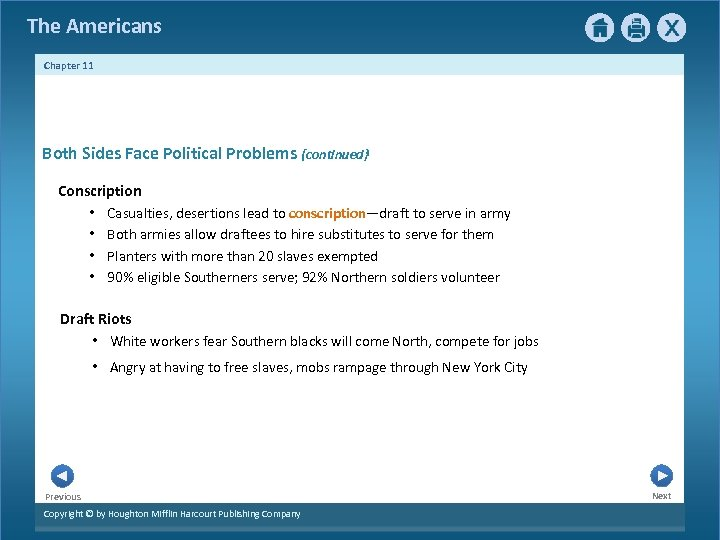 The Americans Chapter 11 Both Sides Face Political Problems {continued} Conscription • Casualties, desertions
