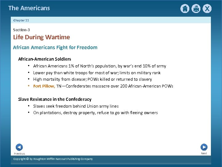 The Americans Chapter 11 Section-3 Life During Wartime African Americans Fight for Freedom African-American