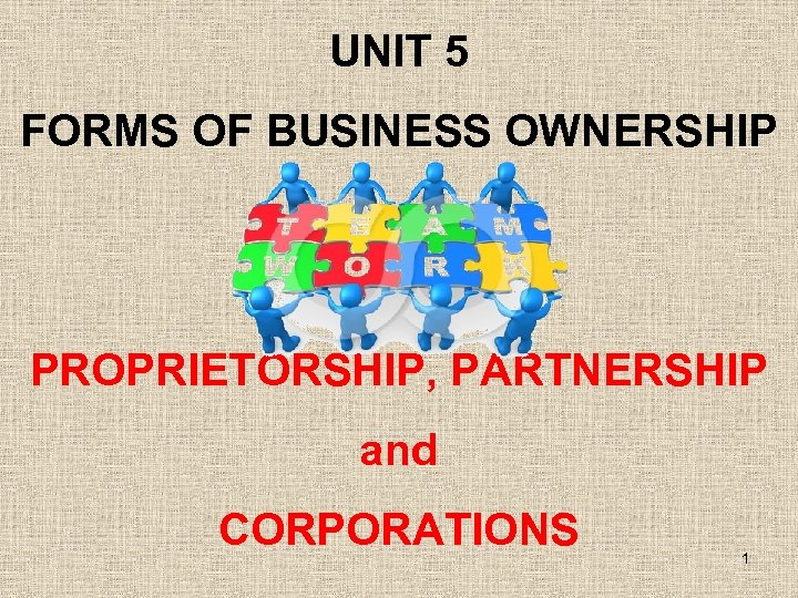 UNIT 5 FORMS OF BUSINESS OWNERSHIP PROPRIETORSHIP, PARTNERSHIP and CORPORATIONS 1