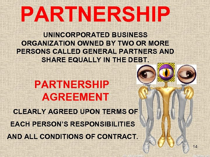 PARTNERSHIP UNINCORPORATED BUSINESS ORGANIZATION OWNED BY TWO OR MORE PERSONS CALLED GENERAL PARTNERS AND