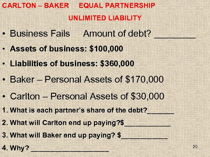 CARLTON – BAKER EQUAL PARTNERSHIP UNLIMITED LIABILITY • Business Fails Amount of debt? ____