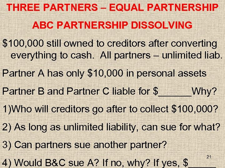 THREE PARTNERS – EQUAL PARTNERSHIP ABC PARTNERSHIP DISSOLVING $100, 000 still owned to creditors