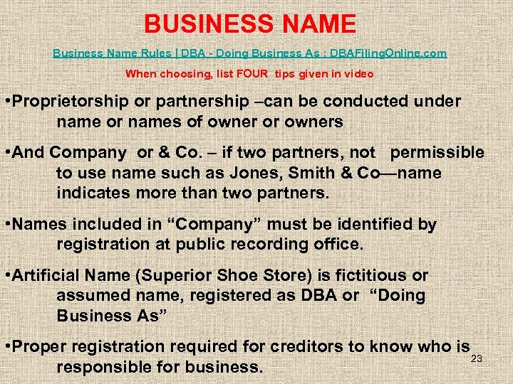 BUSINESS NAME Business Name Rules | DBA - Doing Business As : DBAFiling. Online.