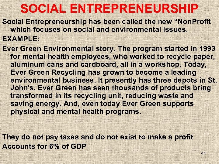 "SOCIAL ENTREPRENEURSHIP Social Entrepreneurship has been called the new ""Non. Profit which focuses on"