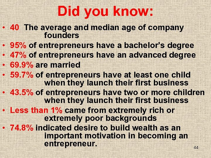 Did you know: • 40 The average and median age of company founders •