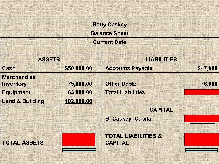 Betty Caskey Balance Sheet Current Date ASSETS LIABILITIES Cash $50, 000. 00 Accounts Payable