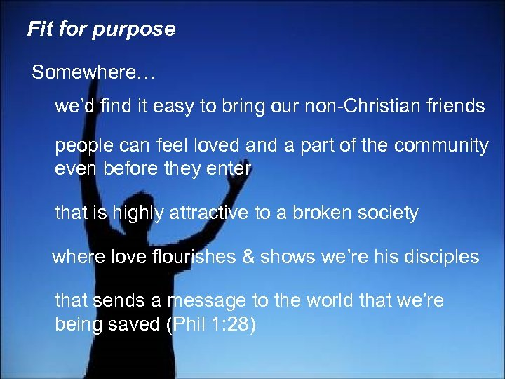 Fit for purpose Somewhere… we'd find it easy to bring our non-Christian friends people