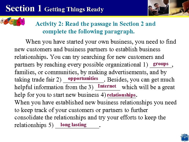 Section 1 Getting Things Ready Activity 2: Read the passage in Section 2 and