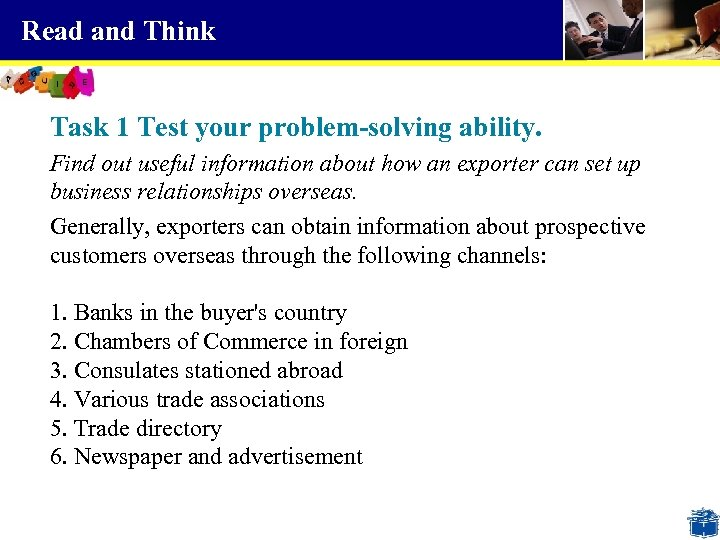 Read and Think Task 1 Test your problem-solving ability. Find out useful information about
