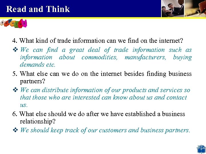 Read and Think 4. What kind of trade information can we find on the