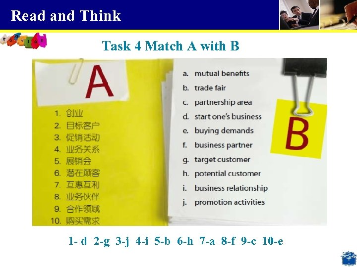 Read and Think Task 4 Match A with B 1 - d 2 -g