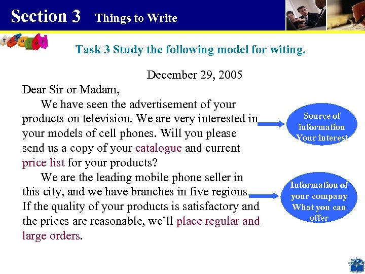 Section 3 Things to Write Task 3 Study the following model for witing. December