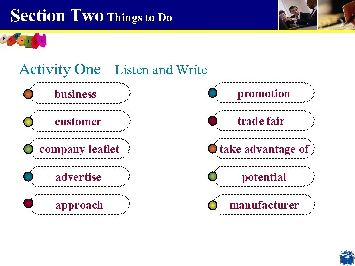 Section Two Things to Do Activity One Listen and Write business promotion customer trade