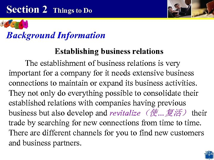 Section 2 Things to Do Background Information Establishing business relations The establishment of business