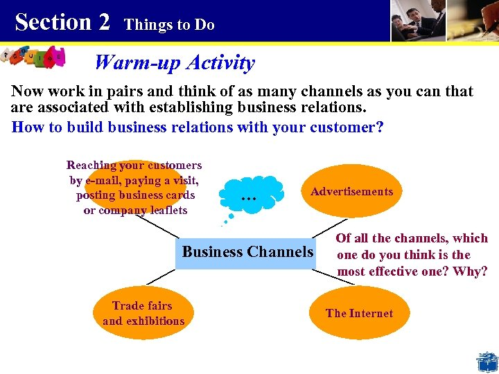 Section 2 Things to Do Warm-up Activity Now work in pairs and think of