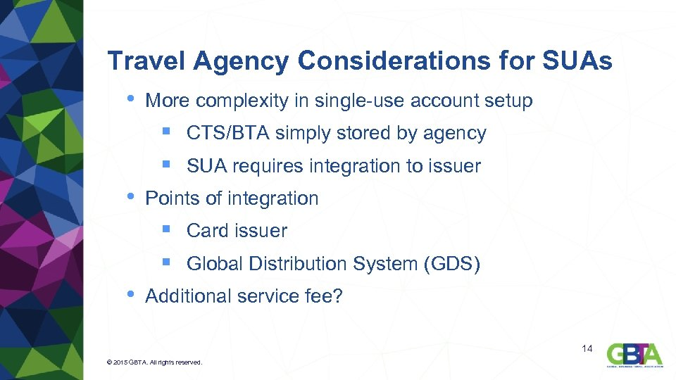 Travel Agency Considerations for SUAs • More complexity in single-use account setup § CTS/BTA