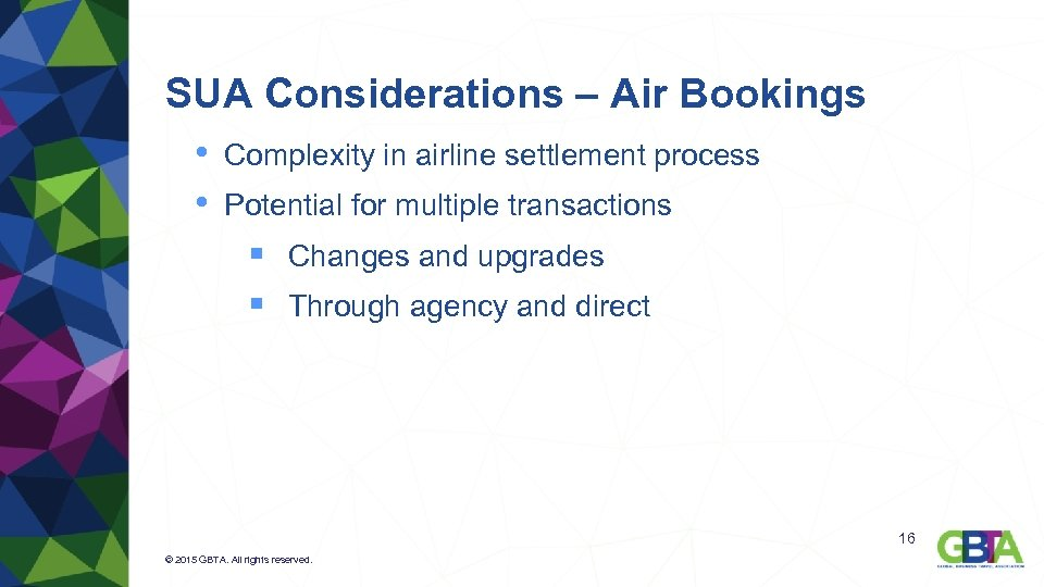 SUA Considerations – Air Bookings • Complexity in airline settlement process • Potential for