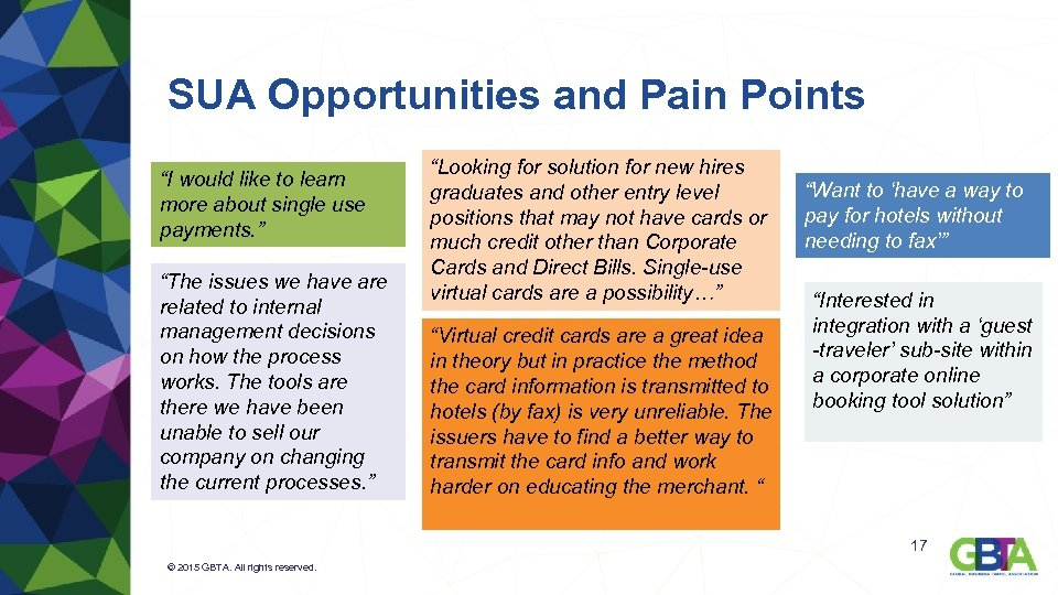 """SUA Opportunities and Pain Points """"I would like to learn more about single use"""