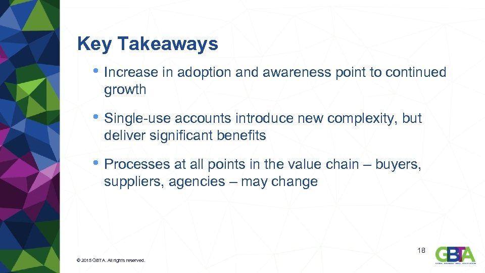 Key Takeaways • Increase in adoption and awareness point to continued growth • Single-use