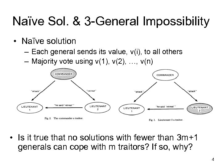 Naïve Sol. & 3 -General Impossibility • Naïve solution – Each general sends its