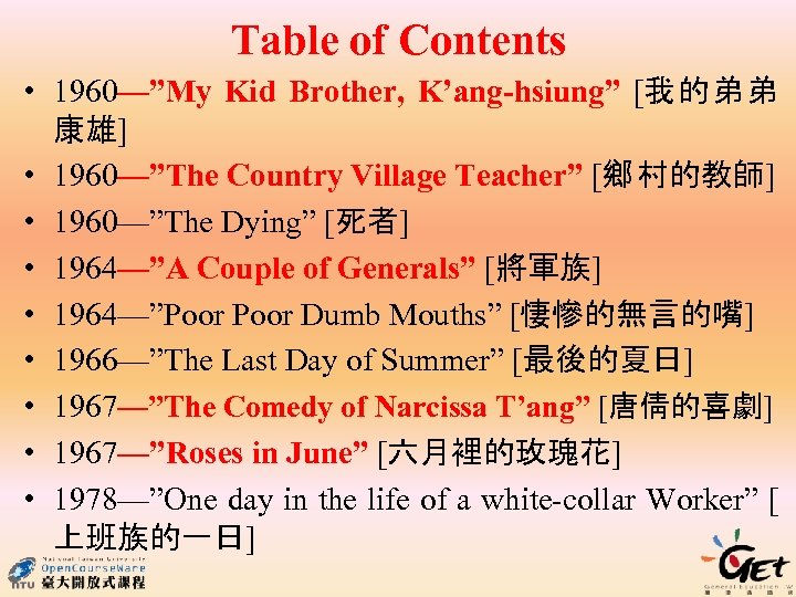 """Table of Contents • 1960—""""My Kid Brother, K'ang-hsiung"""" [我的弟弟 康雄] • 1960—""""The Country Village"""