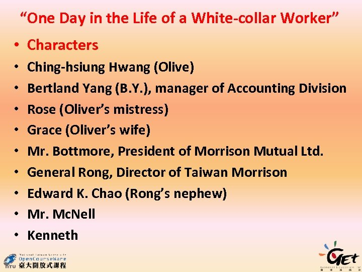 """""""One Day in the Life of a White-collar Worker"""" • Characters • • •"""