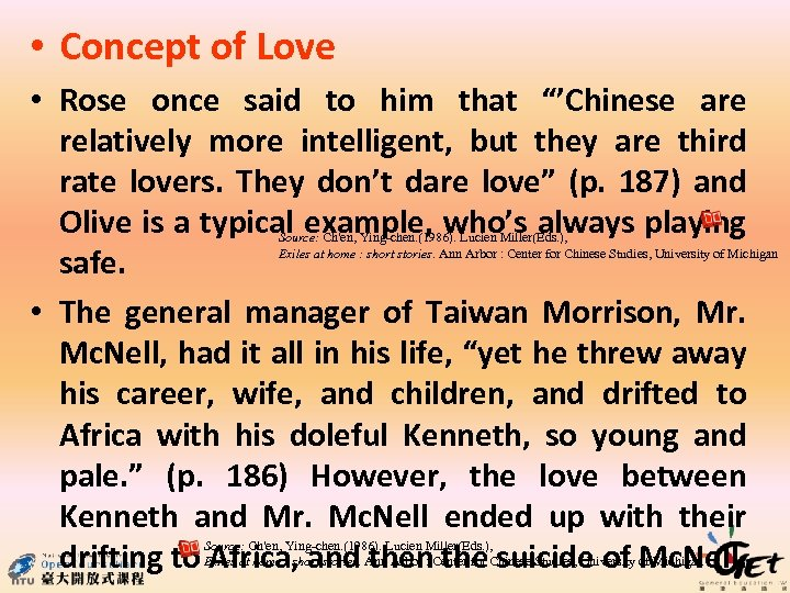 """• Concept of Love • Rose once said to him that """"'Chinese are"""