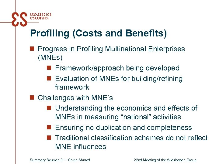 Profiling (Costs and Benefits) n Progress in Profiling Multinational Enterprises (MNEs) n Framework/approach being
