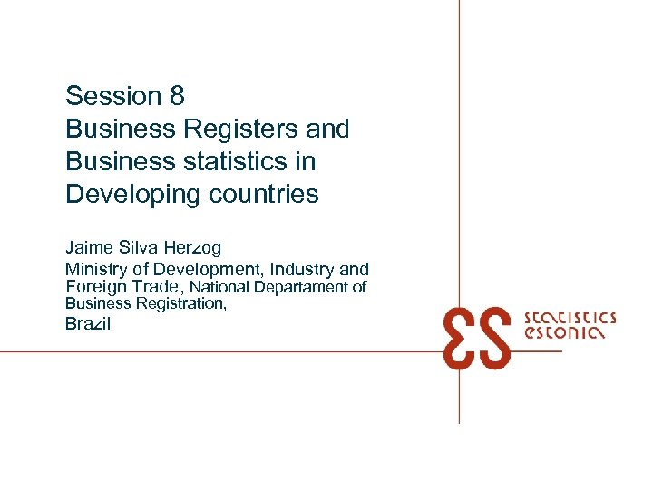 Session 8 Business Registers and Business statistics in Developing countries Jaime Silva Herzog Ministry