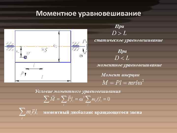 Моментное уравновешивание При статическое уравновешивание При моментное уравновешивание Момент инерции Условие моментного уравновешивания моментный
