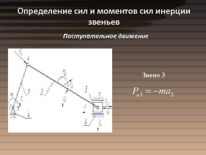Определение сил и моментов сил инерции звеньев Поступательное движение Звено 3